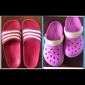 Other - Crocs and Adidas Girls Slipper